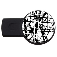 Black And White Abstract Design Usb Flash Drive Round (2 Gb)  by Valentinaart