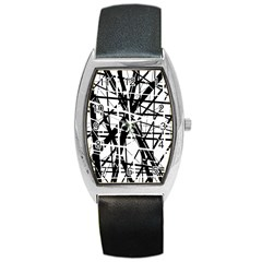 Black And White Abstract Design Barrel Style Metal Watch by Valentinaart