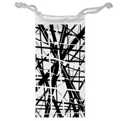 Black And White Abstract Design Jewelry Bags by Valentinaart