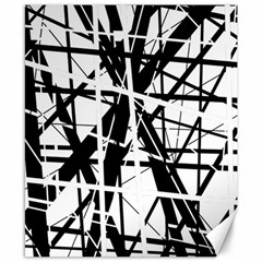 Black And White Abstract Design Canvas 8  X 10  by Valentinaart