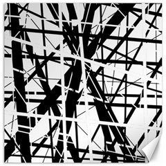 Black And White Abstract Design Canvas 12  X 12   by Valentinaart