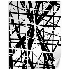 Black And White Abstract Design Canvas 12  X 16   by Valentinaart