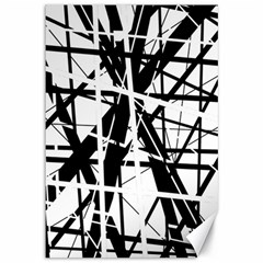 Black And White Abstract Design Canvas 12  X 18   by Valentinaart