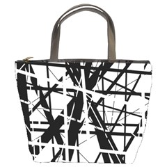 Black And White Abstract Design Bucket Bags by Valentinaart