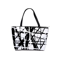 Black And White Abstract Design Shoulder Handbags by Valentinaart