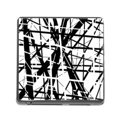 Black And White Abstract Design Memory Card Reader (square) by Valentinaart