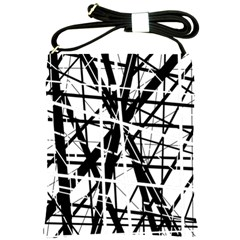 Black And White Abstract Design Shoulder Sling Bags by Valentinaart