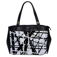 Black And White Abstract Design Office Handbags by Valentinaart