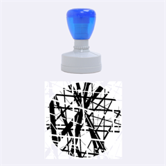 Black And White Abstract Design Rubber Round Stamps (medium)