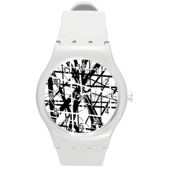 Black And White Abstract Design Round Plastic Sport Watch (m) by Valentinaart