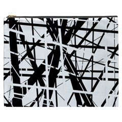 Black And White Abstract Design Cosmetic Bag (xxxl)  by Valentinaart
