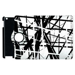 Black And White Abstract Design Apple Ipad 3/4 Flip 360 Case by Valentinaart