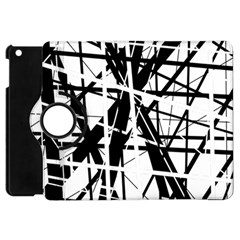 Black And White Abstract Design Apple Ipad Mini Flip 360 Case by Valentinaart