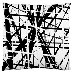 Black And White Abstract Design Large Flano Cushion Case (two Sides) by Valentinaart