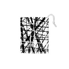 Black And White Abstract Design Drawstring Pouches (xs)  by Valentinaart