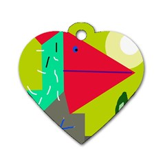 Abstract Bird Dog Tag Heart (one Side)