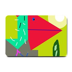 Abstract Bird Small Doormat  by Valentinaart