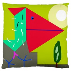 Abstract Bird Large Flano Cushion Case (one Side) by Valentinaart