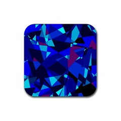 Blue Broken Glass Rubber Square Coaster (4 Pack)  by Valentinaart