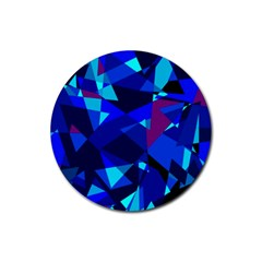Blue Broken Glass Rubber Coaster (round)