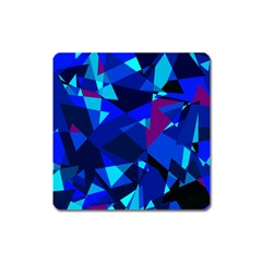 Blue Broken Glass Square Magnet by Valentinaart