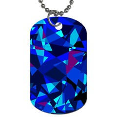 Blue Broken Glass Dog Tag (two Sides) by Valentinaart