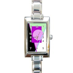 Purple Geometric Design Rectangle Italian Charm Watch by Valentinaart