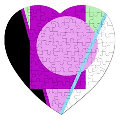 Purple Geometric Design Jigsaw Puzzle (heart) by Valentinaart
