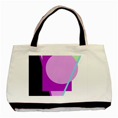 Purple Geometric Design Basic Tote Bag (two Sides) by Valentinaart