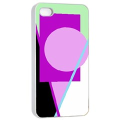 Purple Geometric Design Apple Iphone 4/4s Seamless Case (white) by Valentinaart