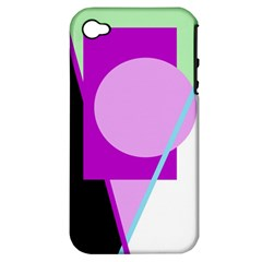 Purple Geometric Design Apple Iphone 4/4s Hardshell Case (pc+silicone) by Valentinaart
