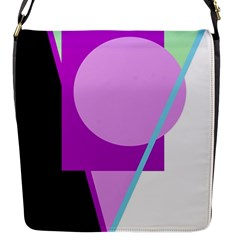 Purple Geometric Design Flap Messenger Bag (s) by Valentinaart
