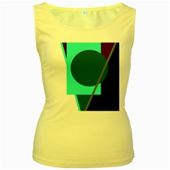 Geometric Abstract Design Women s Yellow Tank Top by Valentinaart