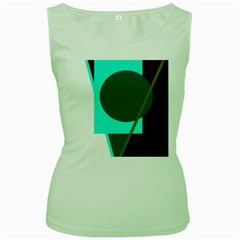 Geometric Abstract Design Women s Green Tank Top by Valentinaart