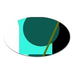 Geometric Abstract Design Oval Magnet by Valentinaart