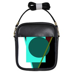 Geometric Abstract Design Girls Sling Bags by Valentinaart