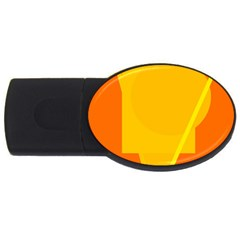 Orange Abstract Design Usb Flash Drive Oval (4 Gb)  by Valentinaart