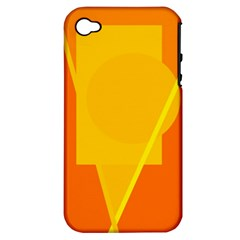 Orange Abstract Design Apple Iphone 4/4s Hardshell Case (pc+silicone) by Valentinaart