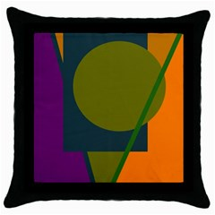 Geometric Abstraction Throw Pillow Case (black) by Valentinaart