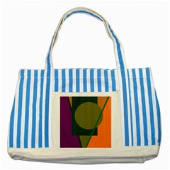 Geometric Abstraction Striped Blue Tote Bag by Valentinaart