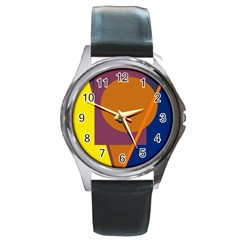 Geometric Abstract Desing Round Metal Watch by Valentinaart