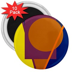 Geometric Abstract Desing 3  Magnets (10 Pack)  by Valentinaart