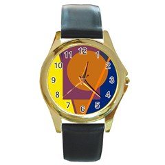 Geometric Abstract Desing Round Gold Metal Watch