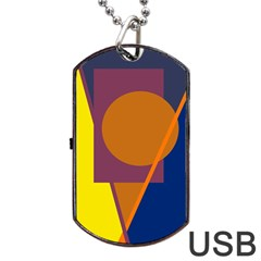 Geometric Abstract Desing Dog Tag Usb Flash (two Sides)  by Valentinaart