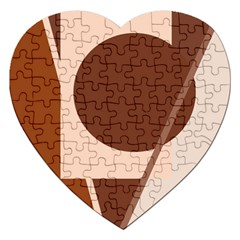 Brown Geometric Design Jigsaw Puzzle (heart) by Valentinaart