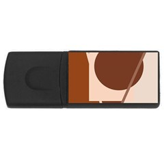 Brown Geometric Design Usb Flash Drive Rectangular (4 Gb)  by Valentinaart