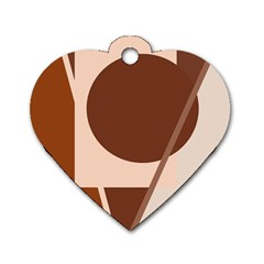 Brown Geometric Design Dog Tag Heart (one Side) by Valentinaart