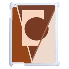 Brown Geometric Design Apple Ipad 2 Case (white) by Valentinaart