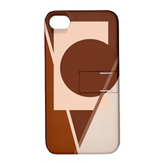 Brown Geometric Design Apple Iphone 4/4s Hardshell Case With Stand by Valentinaart