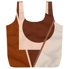 Brown Geometric Design Full Print Recycle Bags (l)  by Valentinaart